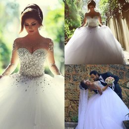 Wholesale Said Mhamad Arabic Musilim Ball Gown Wedding Dresses Beads Long Sleeves Sheers Backless vestidos de noiva Bridal Gowns Crystals Noble