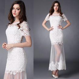 Wholesale 2015 Bohemia Beach Wedding Dresses Sheath Bateau Sheer Lace with Applique Short Sleeves Zipper Evening Prom Beach party dresses