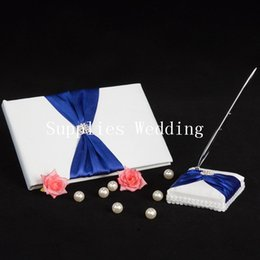 Wholesale NEW Elegant Blue Ribbon Rhinestone Wedding Party Supplies Colour Schemes Accessories Guestbook and Pen Set