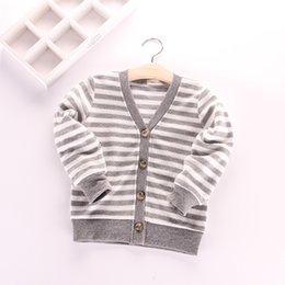 Wholesale Kids Boys and Girls Stripe Knit Sweaters Boys Girls Spring V neck Knitting Cardigan Children s Fashion Clothing