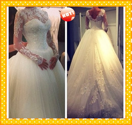 Wholesale 2015 New Bling Wedding Dresses Ball Gown Illusion Lace Tulle Long Sleeve Applique Sequins Crystals Wedding Bridal Dress Gowns Custom