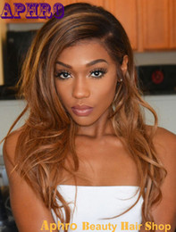 Discount ombre human hair wave Ombre Brown Blonde Human Hair Lace Front Wigs Black Women 130% Density Glueless Silk Top Full Lace Brazilian Hair Wigs For African American