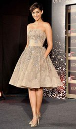 Wholesale 2016 Sonam Kapoor Celebrity Dresses Elie Saab Bead Sequins A Line Short Party Prom Dress Strapless Sexy Homecoming Gowns No Sleeve Lace Vest