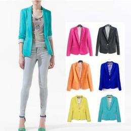 Wholesale Big Size Girls Candy Colors Suits Ladies Clothing Jacket Long Sleeve V neck Button Vogue Blazers Women s Fashion Clothes Colors M2913 BJ