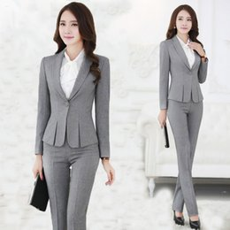 Wholesale Office Style Blazer Pants Black Gray Women Business Suits TZ344