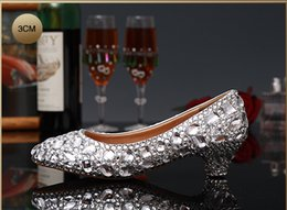 Wholesale 2015 Luxury high heel wedding shoes women Genuine leather Diamond crystal platforms Glitter rhinestone studded wedge party pump prom shoes