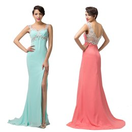 Wholesale Grace Karin Long Beading formal Long High Split Bridesmaids Dress evening Party Ball gowns Homecoming prom dresses CL6113