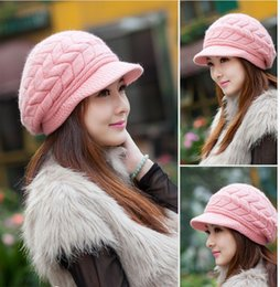 Discount wholesale knitted cashmere hat 2014 Fashion Women Ladies Unisex Winter Knit Plicate Slouch Cap Hat Knitted Skull Beanies Casual Ski 12 colors Free Shipping