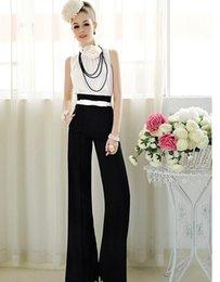 Wholesale Womens Career Wide Leg Long Pants OL Loose Casual Black Slim High Waist Flare Vintage Palazzo Trousers S XL