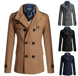 Wholesale Mens Trench Coats Double Breasted Suit Blazer Jackets Coats Outerwear Coats Slim wool coat and long sections windbreaker jacket