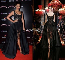 Wholesale 2015 Sexy Sonam Kapoor Celebrity Dresses Ball Gown Pearls Cap Sleeve See Through Lace Scoop Elie Saab Red Carpet Prom Dress Evening Gowns