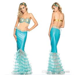 Wholesale Nuevos Blue Mermaid Cosplay Sexy Trajes Disfraces cuerpo para las mujeres del desgaste del club Vestidos de fiesta Juegos de rol envío gratuito