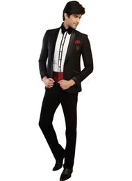 Wholesale 2015 Black Groom Tuxedos Groomsman Prom Party Suits Peaked Lapel Men Business Suit Prom Mens Wedding Suits Jacket Pants