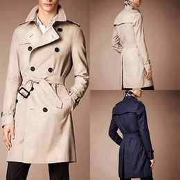 Wholesale Hot Sell Men s Slim Fit Double breasted Trench Coats Belted Long Duster Coat Jacket