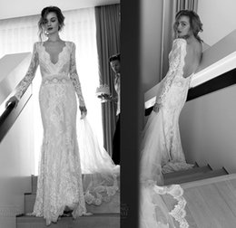 Wholesale Lihi Hod Bohemian Lace Bridal Dresses with Sexy Vintage Deep V Neckline Long Sleeves Backless Sweep Train Bridal Gowns