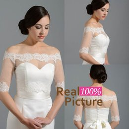 Wholesale 2015 Modest Fashion Tulle Wedding Bridal Bolero Off The Shoulder Lace Appliques Bolero Jacket Shawl Coats Bridal Accessories Wedding Event