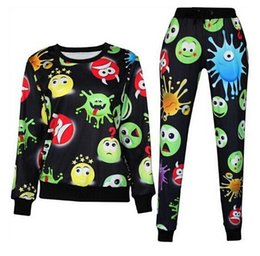 Wholesale Freeship Harajuku new D tracksuits print cartoon emoji jogging suits sweat shirts pants piece set for men women sportwear new