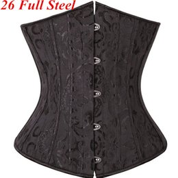 Wholesale XS XL Unique Full Steel Boned Waist Training Corset Underbust Black White Waist Trainer Women Female Waist Lingerie Shaper