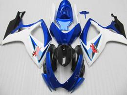 Настройка для Suzuki GSX-R 600 750 обтекателя комплект GSXR600 GSXR750 обтекателей 2006 2007 06 07 синий белый обтекателей
