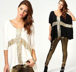 Wholesale New arrival european style cross sequins crew neck tops for women blouses shirts white black plus sizes women clothing M XXL