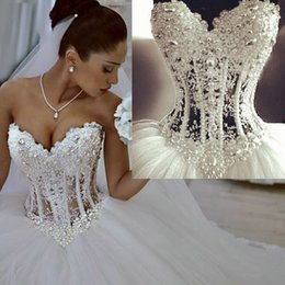 Wholesale Wonderful Pearls Corset Lace Ball Gown Wedding Dresses White Sweetheart Lace Bridal Dress Beads Custom Made Vestido de Novia W4002