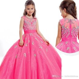 Wholesale little girls pageant dresses beads crystal cap sleeves applique pink zipper back ball gown flower girl dress for