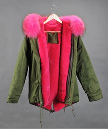 Wholesale Mr Mrs Furs Pink Real Raccoon Fur hood Lined with rabbit fur Ladies Jacket in Green