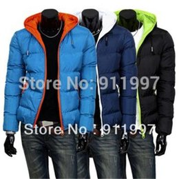 Wholesale 2014 mens winter jacket men s hooded wadded coat winter thickening outerwear male slim casual cotton padded outwear colors