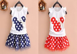 Wholesale Baby Girls Minnie Mouse Princess Birthday Party Outfit Girls Dresses Red Dot Kids Clothing sets l