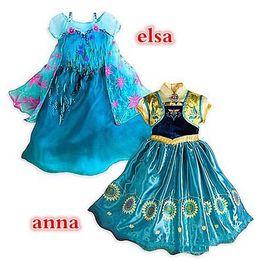 Wholesale Frozen fever children summer anna elsa dress Cinderella elsa anna movie cosplay costumes baby girl flower princess dress DHL free A001