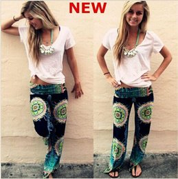Wholesale New Digital Printing Women Maxi Pants High Waist Wide Leg Long Pants Floral Elephant Pattern Palazzo Trousers sale off