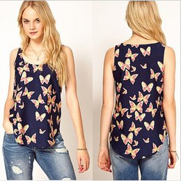 Wholesale Women Butterfly Print Camisole Chiffon Round Neck Sleeveless Blouse Shirt Tops Clothes