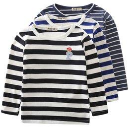 Wholesale 2015 Autumn Korean version of the children bear head striped long sleeved T shirt bottoming shirt B001