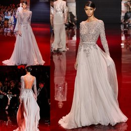 Wholesale 2015 Elie Saab chiffon flow A line evening dresses sequins beading long sleeves bateau sweep train formal backless prom party gowns BO2258