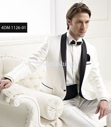Wholesale New Arrival Groom Tuxedos High grade Best Man Flat Collar White Chic Two Buttons Bridegroom Jacket Pants Tie
