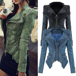 Wholesale 2015 New arrival Sharp Power Studded Shoulder Notched Lapel women Denim Jeans Tuxedo Coat Blazer Jacket S XXL SV001070