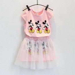 Wholesale Minnie à manches courtes T shirt Set Enfants Enfants Suit Tenues Girl Dress coréenne Vêtements d été Jupes Vêtements pour enfants Enfants Meilleur Costumes C6259