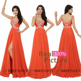 Wholesale 2015 IN STOCK Long Prom Dresses Sexy V Neck Zipper Backless A Line Chiffon Formal Evening Party Gowns Split Beaded Orange Graduation Dress
