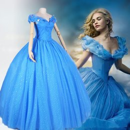 Wholesale 2015 newest movie Cinderella blue princess party dress prom dress costume cosplay fit for women