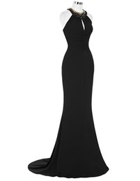 Wholesale Under ST Sexy Halter Long Pleated Sheath Mermaid Prom Dress Ball Gown Evening Prom Party Dress Size US ST000089