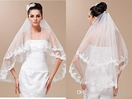 Wholesale Two Layer Wedding Viel Lace Appliques Edge White and Ivory Viels Veu De Noiva Bridal Veil