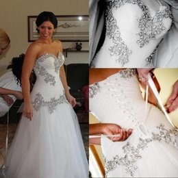 Wholesale 2015 New Pnina Tornai Wedding Dress Vintage A Line Sweetheart Bling Crystals Sequins Tulle Lace Up Back Chapel Train Bridal Dresses Cheap