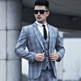 Discount Mens Three Piece Plaid Suits | 2017 Mens Three Piece
