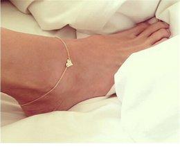 Joyería Moda Tobillera Cadenas Oro atractivo tono del corazón del amor sandalias descalzas estiran pulseras de tobillo del pie de la joyería del corazón para el tobillo para las mujeres