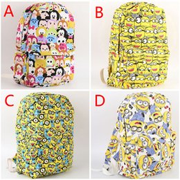 Discount students backpacks 15pcs Tsum Tsum school bags Mickey & Minnie Mouse canvas backpack cartoon children casual shoulder bag student schoolbag 201508HX