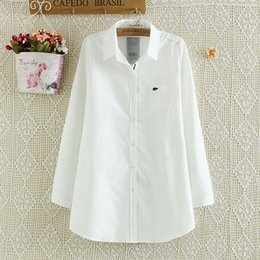 Wholesale F21 code ladies fat mm spring new baby elephant embroidery simple shirt chest pocket shirt Blouses