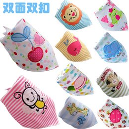 Wholesale NEW Fashions embroidery double layer Cotton triangle baby bibs bear I love daddy owl ladybug ant duck car