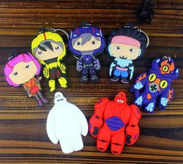 Wholesale Big hero baymax keychains cartoon fashion D doll Keychain Keyring Cute soft rubber key chain