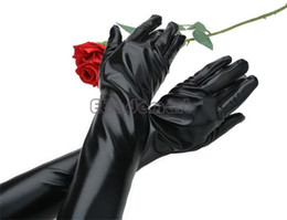Wholesale 1pair Womens Sexy Black Gloves Lady Gloves Leather Long Elbow Finger Glove Mittens For Evening Party Wedding Dress