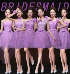 Wholesale Cheap short bridesmaids dresses for wedding party new plus size strapless chiffon flower wedding prom evening dresses under